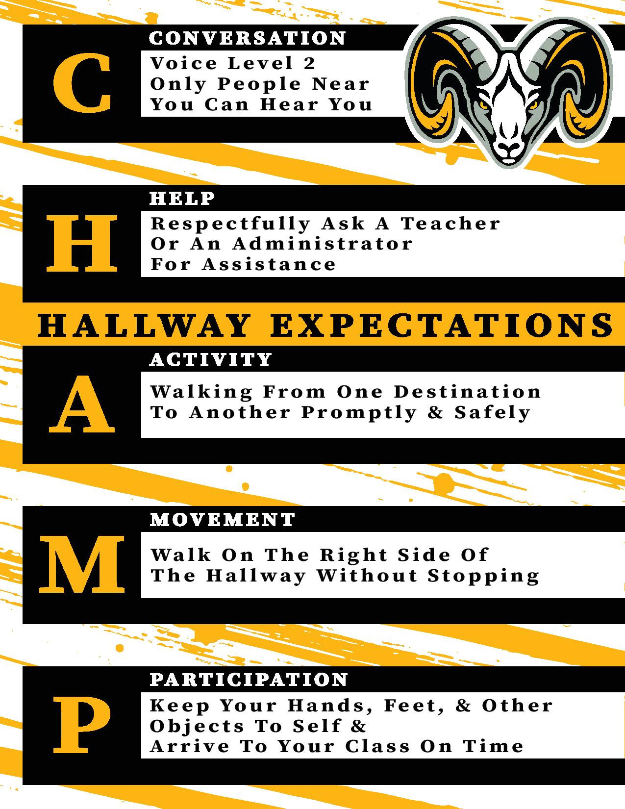 Rutherford Rams High School & Middle School Hallway Expectations